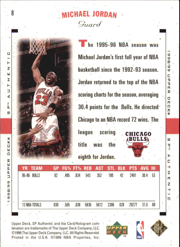 1998-99 SP Authentic #8 Michael Jordan back image