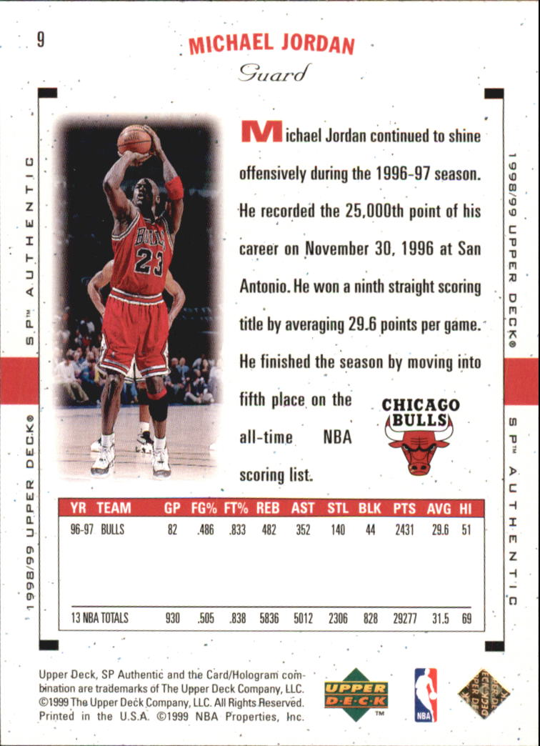 1998-99 SP Authentic #9 Michael Jordan back image