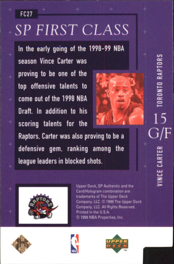 1998-99 SP Authentic First Class #FC27 Vince Carter back image