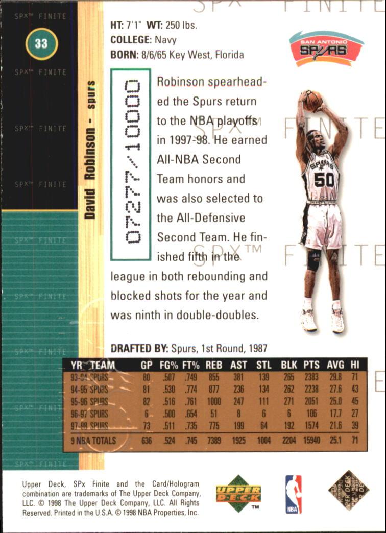 1998-99 SPx Finite #33 David Robinson back image
