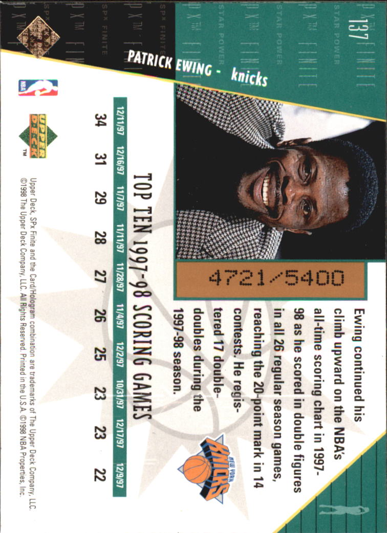 1998-99 SPx Finite #137 Patrick Ewing SP back image