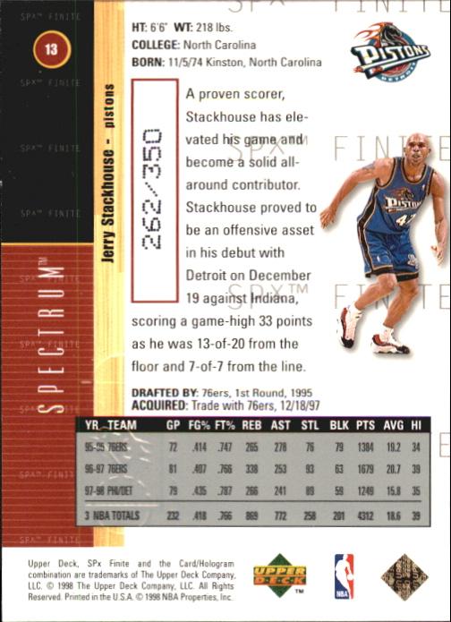 1998-99 SPx Finite Spectrum #13 Jerry Stackhouse back image