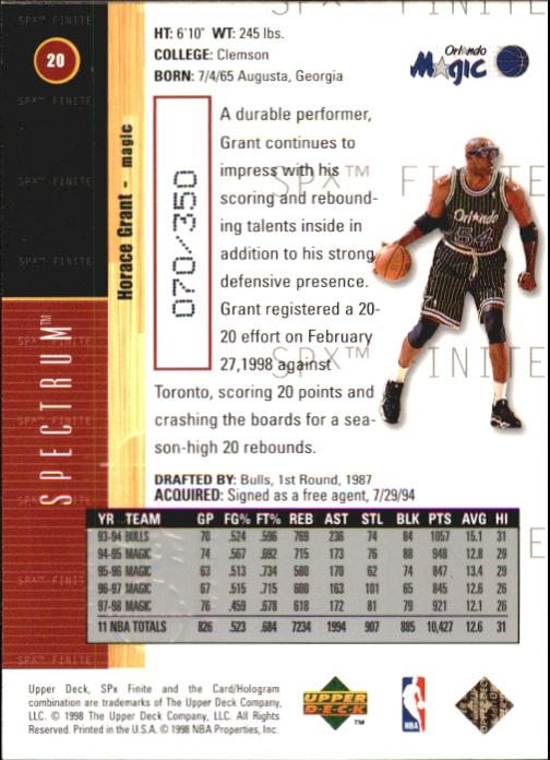 1998-99 SPx Finite Spectrum #20 Horace Grant back image