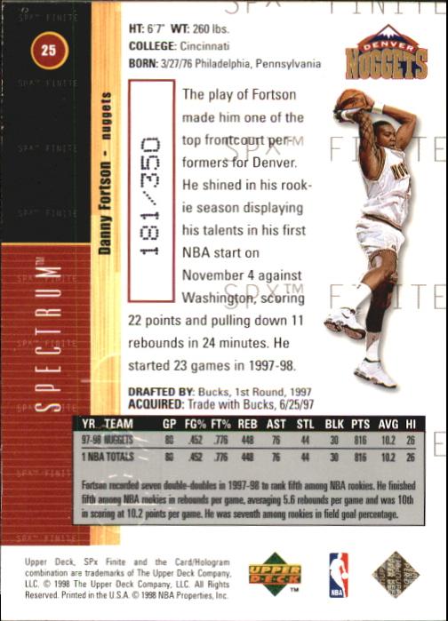 1998-99 SPx Finite Spectrum #25 Danny Fortson back image