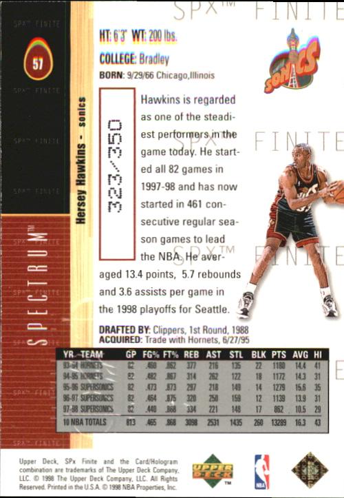 1998-99 SPx Finite Spectrum #57 Hersey Hawkins back image