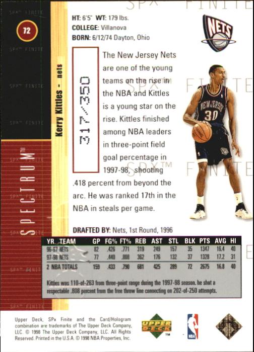 1998-99 SPx Finite Spectrum #72 Kerry Kittles back image