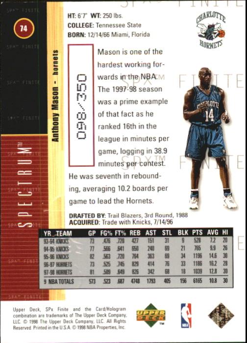 1998-99 SPx Finite Spectrum #74 Anthony Mason back image