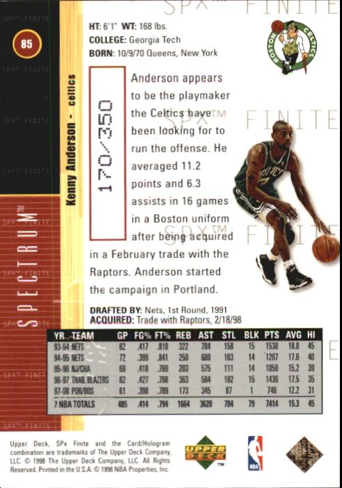 1998-99 SPx Finite Spectrum #85 Kenny Anderson back image