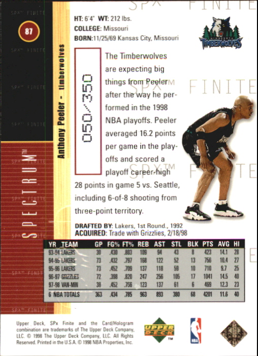 1998-99 SPx Finite Spectrum #87 Anthony Peeler back image