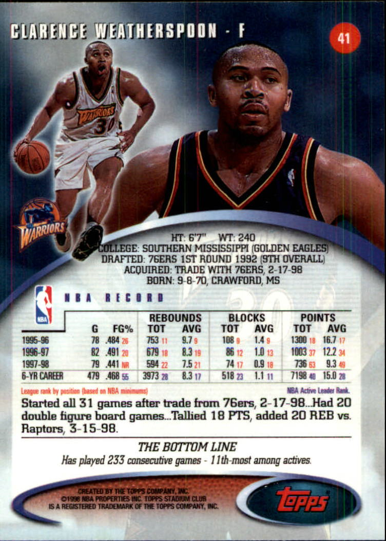 1998-99 Stadium Club #41 Clarence Weatherspoon back image