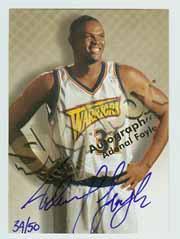 1998-99 SkyBox Premium Autographics Blue #42 Adonal Foyle