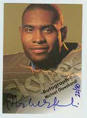1998-99 SkyBox Premium Autographics Blue #92 Michael Olowokandi