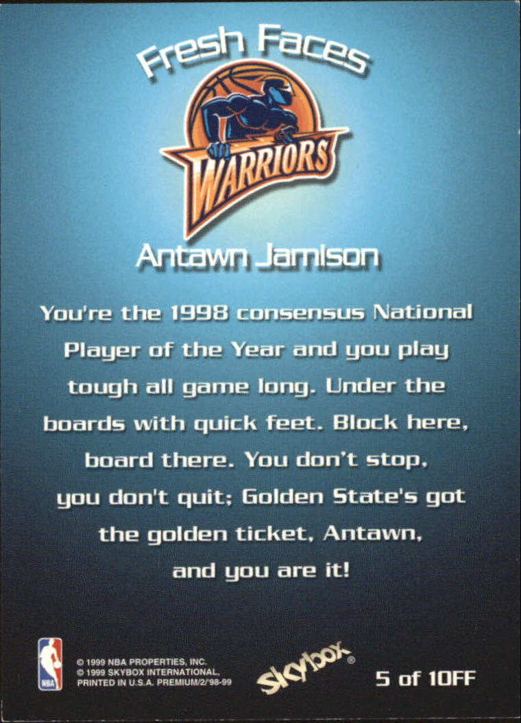 1998-99 SkyBox Premium Fresh Faces #5 Antawn Jamison back image
