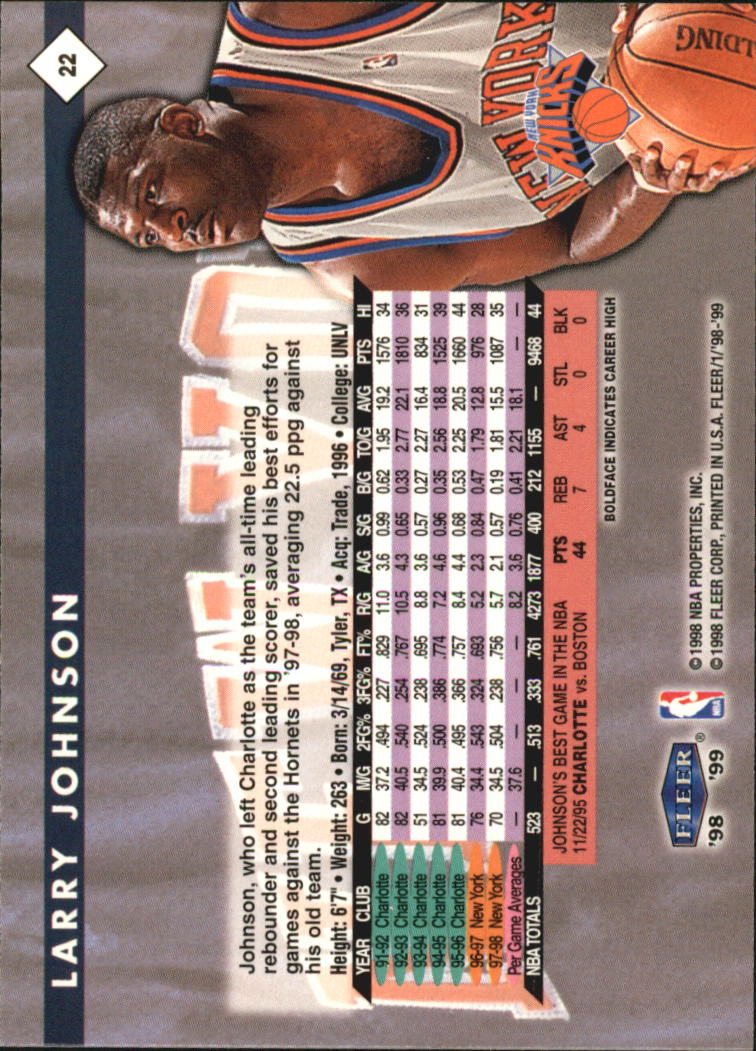1998-99 Fleer #22 Larry Johnson back image