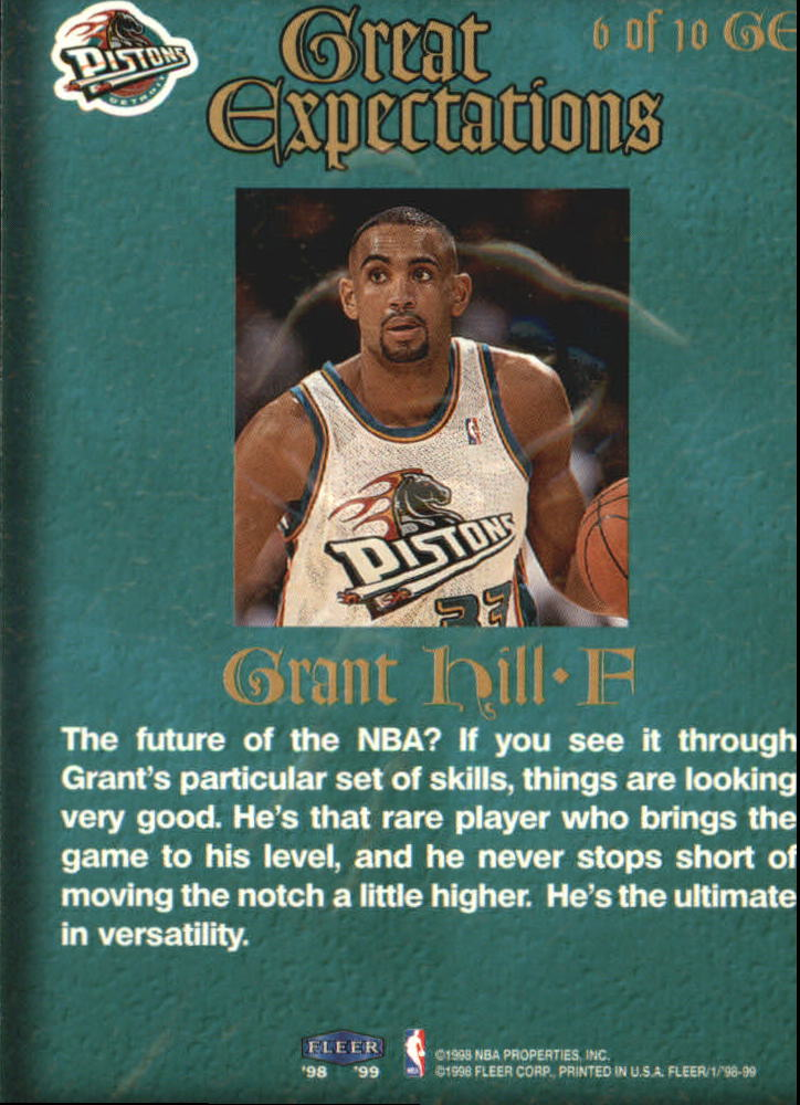 1998-99 Fleer Great Expectations #6 Grant Hill back image