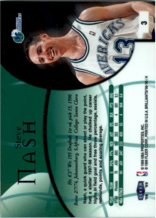 1998-99 Fleer Brilliants #3 Steve Nash back image