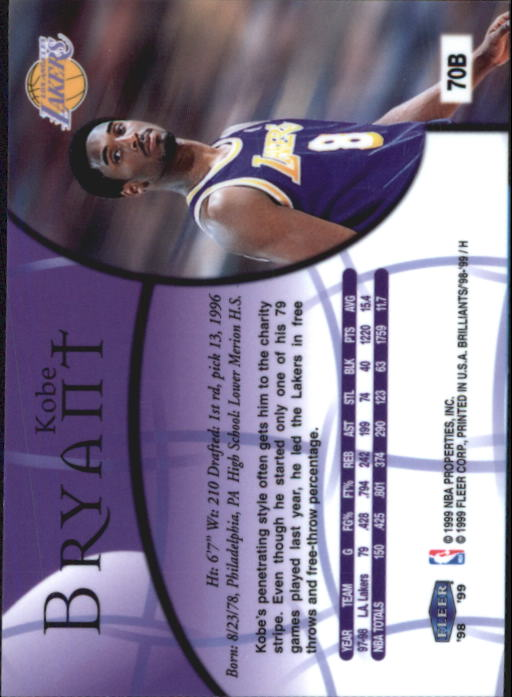 1998-99 Fleer Brilliants #70 Kobe Bryant back image