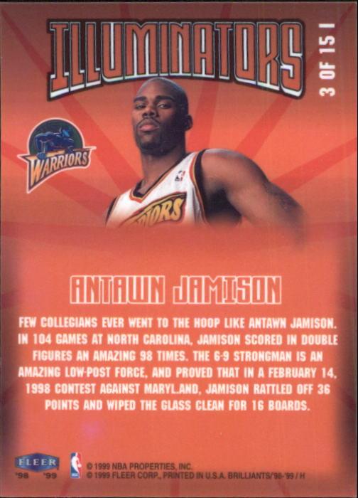 1998-99 Fleer Brilliants Illuminators #3 Antawn Jamison back image