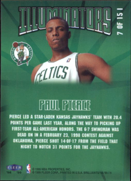 1998-99 Fleer Brilliants Illuminators #7 Paul Pierce back image