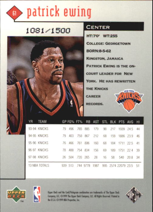 1998-99 Black Diamond Triple Diamond #61 Patrick Ewing back image