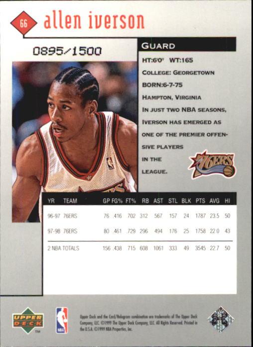 1998-99 Black Diamond Triple Diamond #66 Allen Iverson back image