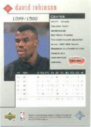 1998-99 Black Diamond Triple Diamond #77 David Robinson back image
