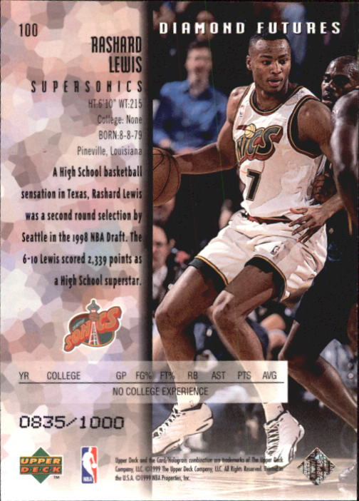 1998-99 Black Diamond Triple Diamond #100 Rashard Lewis back image