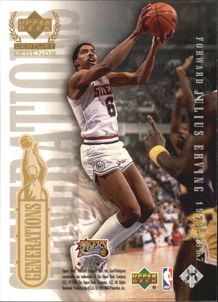 1999 Upper Deck Century Legends Generations #G1 Michael Jordan/Julius Erving back image