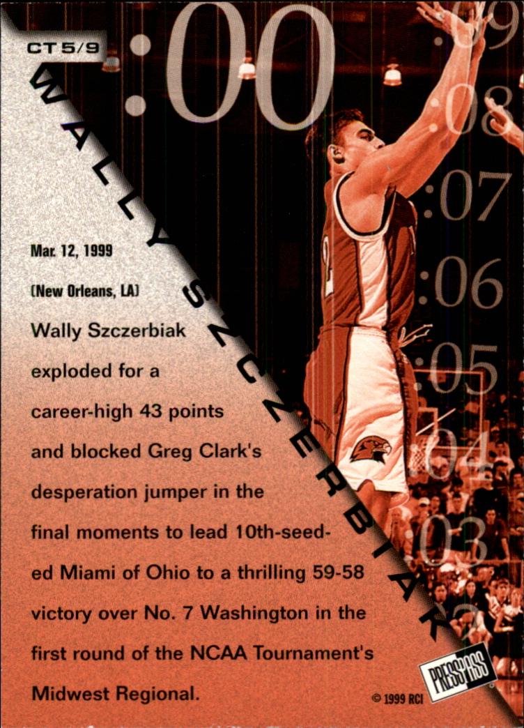 1999 Press Pass Crunch Time #CT5 Wally Szczerbiak back image