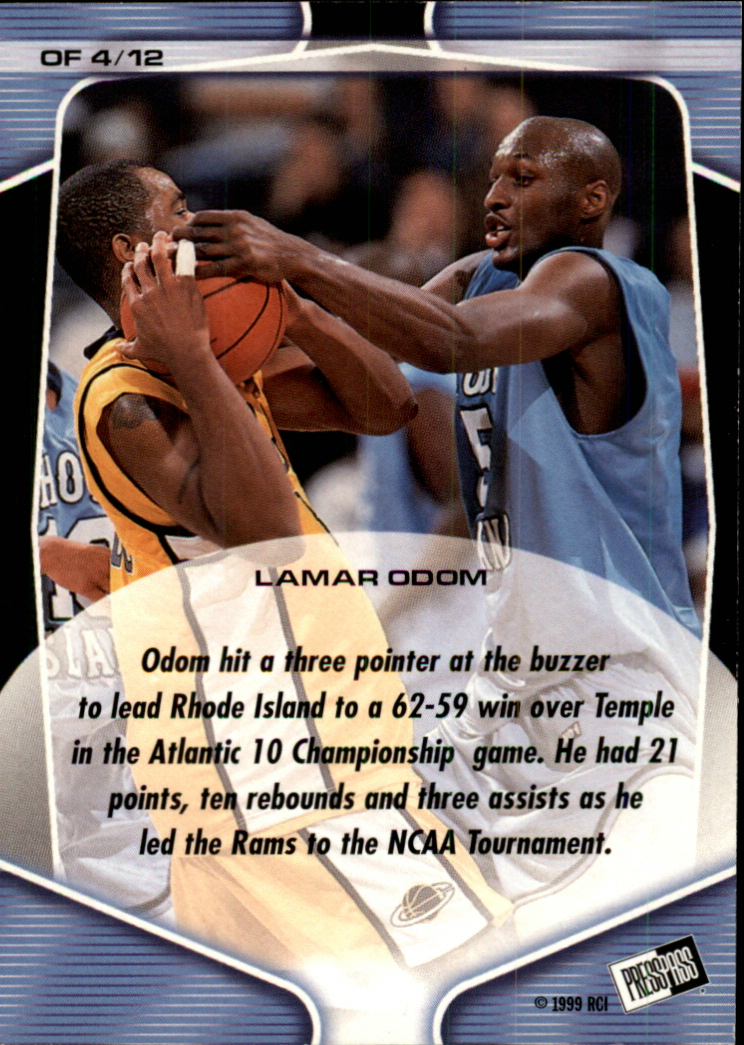 1999 Press Pass On Fire #OF4 Lamar Odom back image