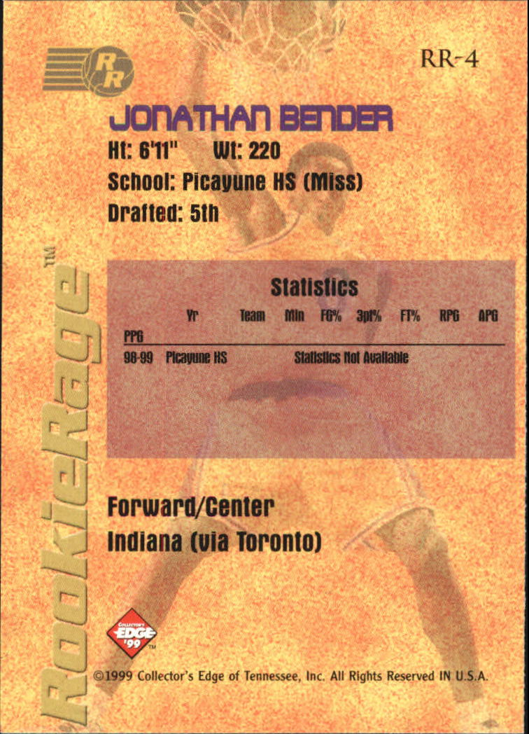 1999 Collector's Edge Rookie Rage #4 Jonathan Bender back image