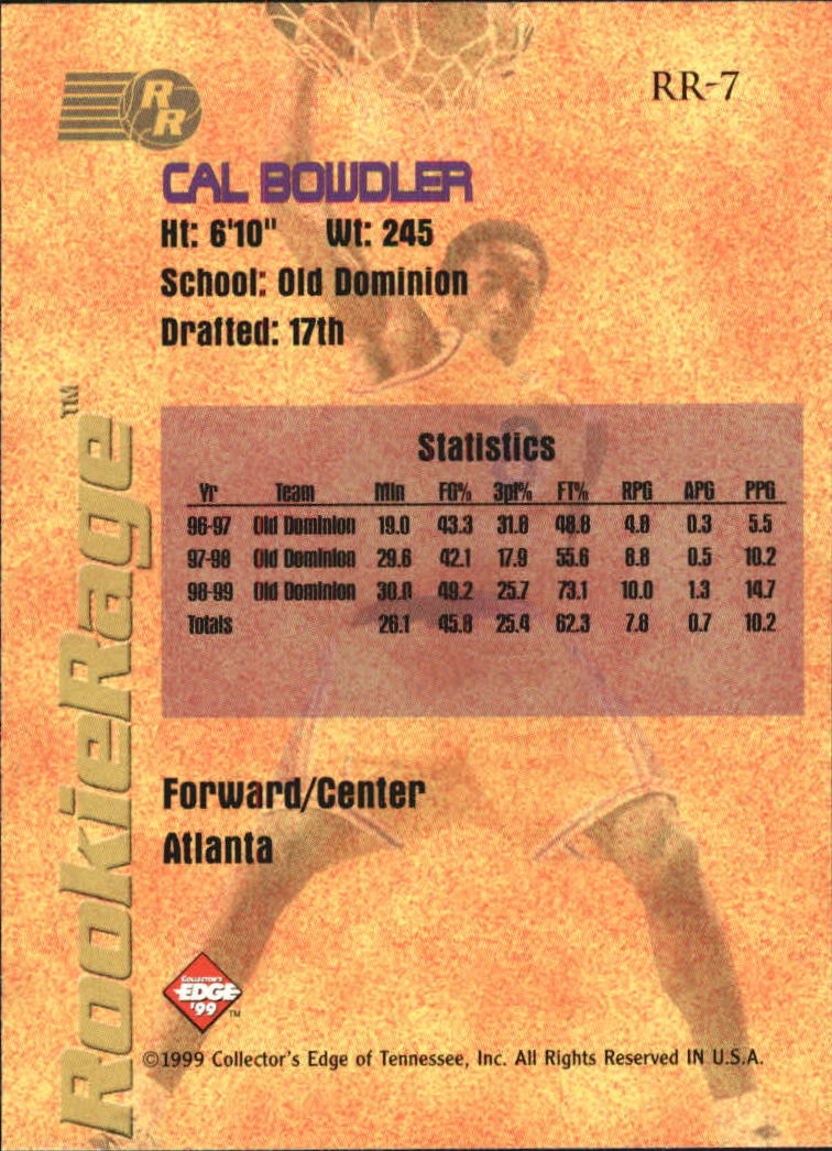 1999 Collector's Edge Rookie Rage #7 Cal Bowdler back image