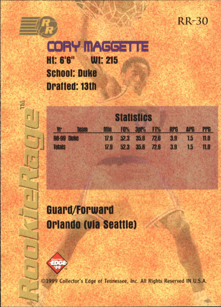 1999 Collector's Edge Rookie Rage #30 Corey Maggette back image