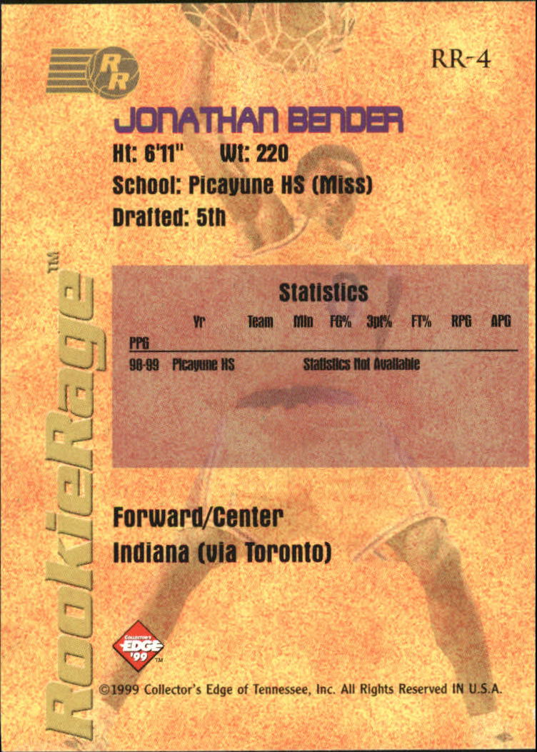 1999 Collector's Edge Rookie Rage Gold #4 Jonathan Bender back image