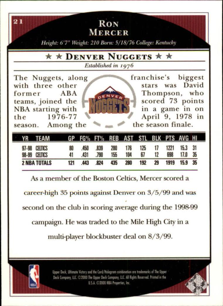 1999-00 Ultimate Victory #21 Ron Mercer back image