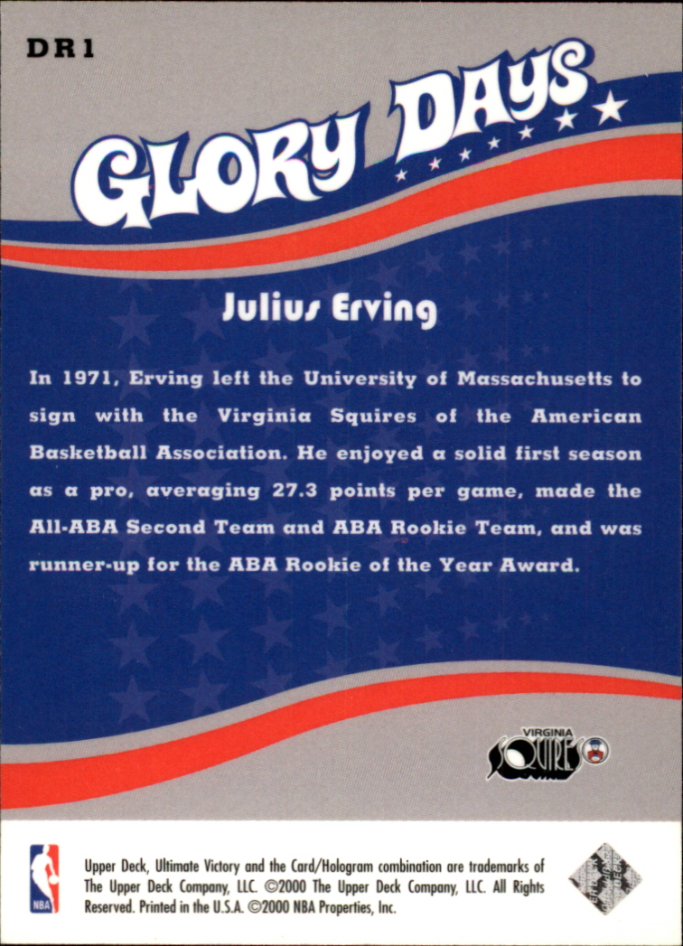 1999-00 Ultimate Victory Dr. J Glory Days #DR1 Julius Erving back image