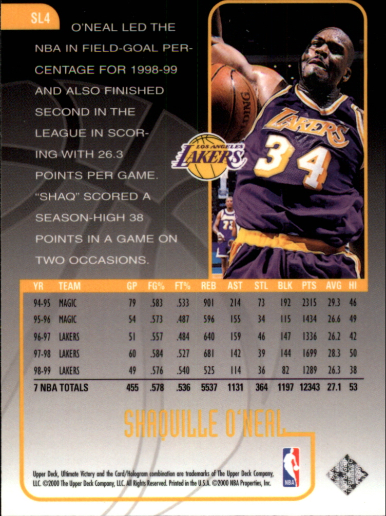 1999-00 Ultimate Victory Scorin' Legion #SL4 Shaquille O'Neal back image