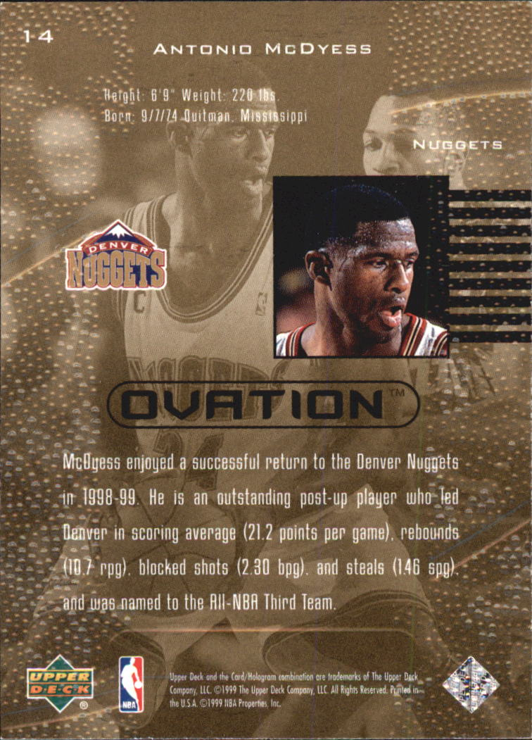 1999-00 Upper Deck Ovation #14 Antonio McDyess back image