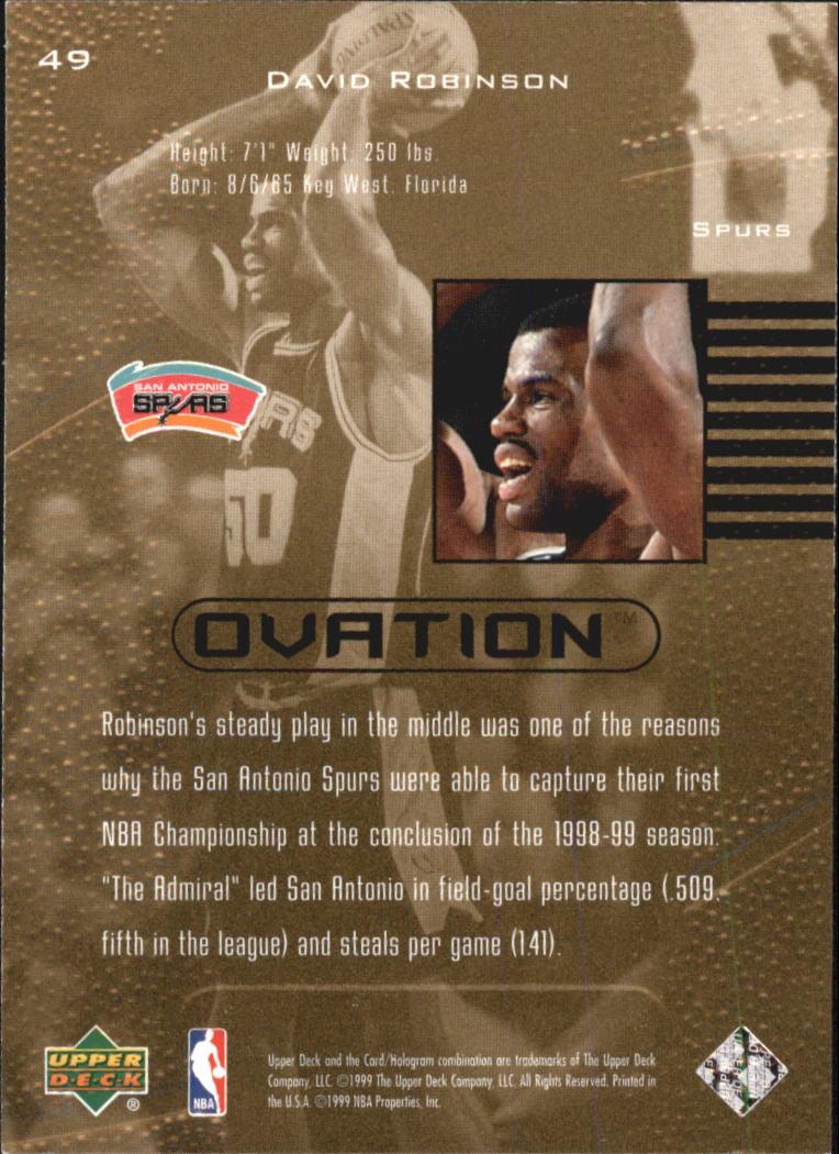 1999-00 Upper Deck Ovation #49 David Robinson back image
