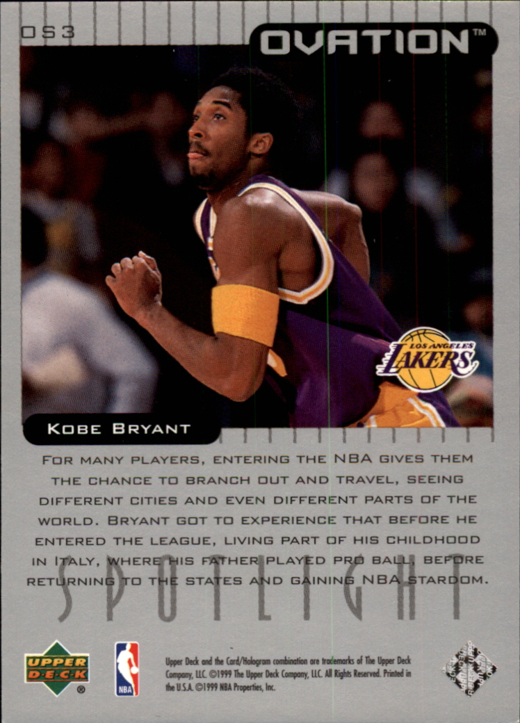 1999-00 Upper Deck Ovation Spotlight #OS3 Kobe Bryant back image