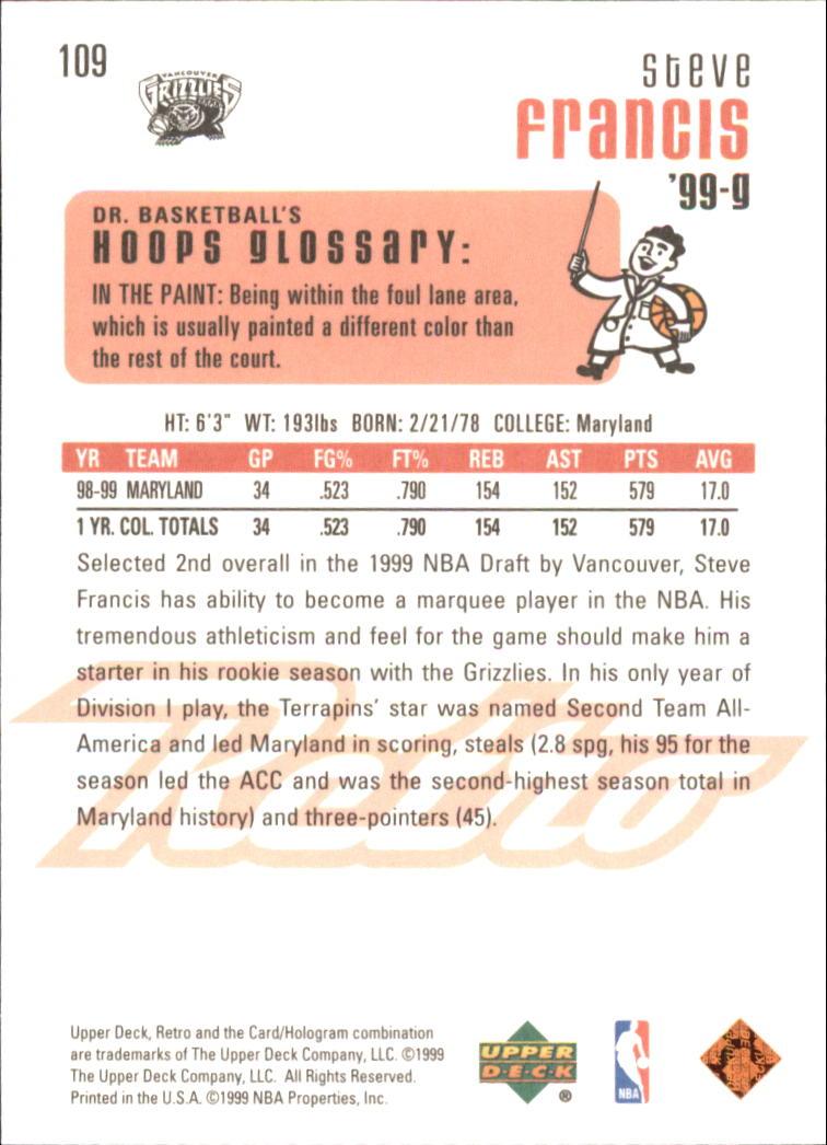 1999-00 Upper Deck Retro #109 Steve Francis RC back image