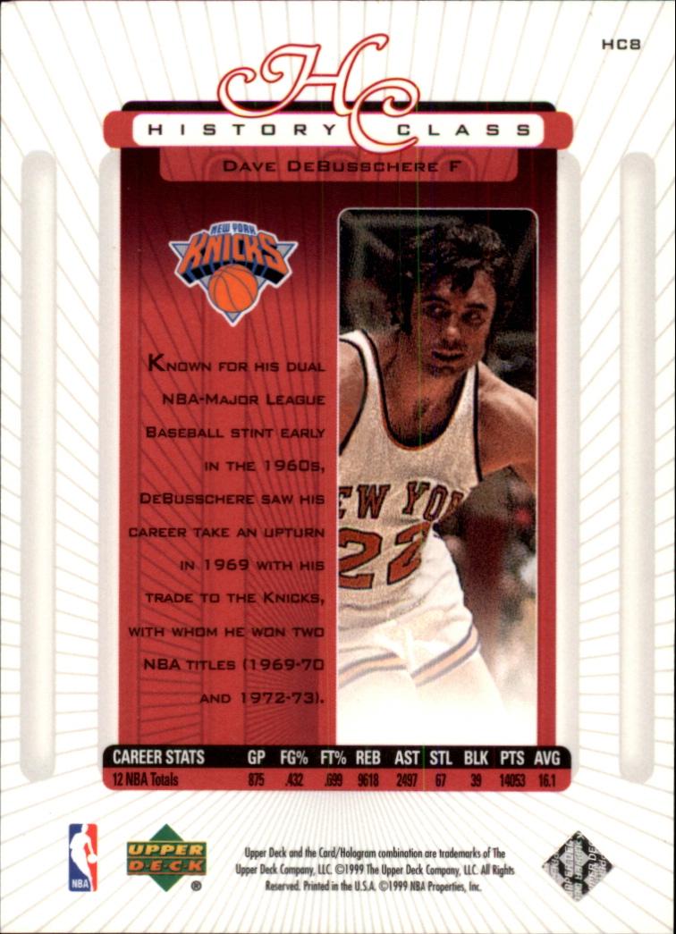 1999-00 Upper Deck History Class #HC8 Dave DeBusschere back image