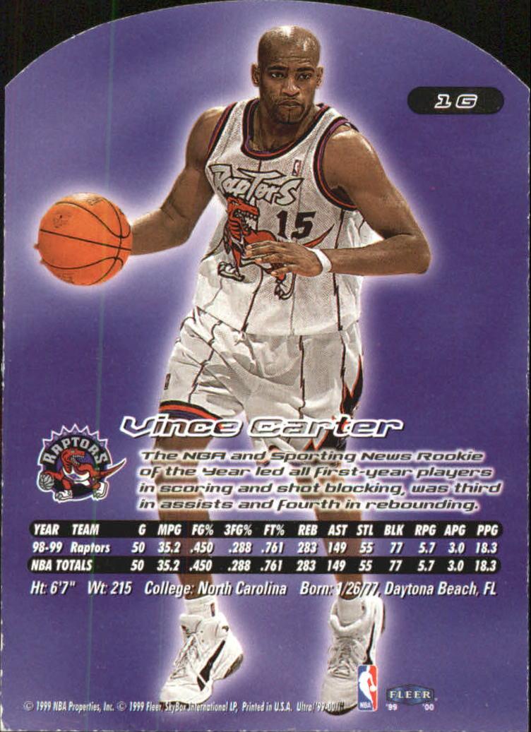 1999-00 Ultra Gold Medallion #1 Vince Carter back image