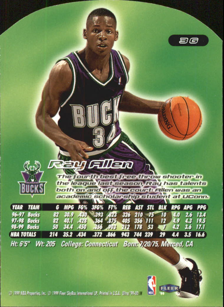 1999-00 Ultra Gold Medallion #3 Ray Allen back image