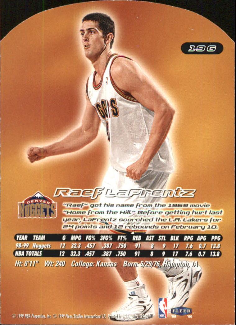 1999-00 Ultra Gold Medallion #19 Raef LaFrentz back image