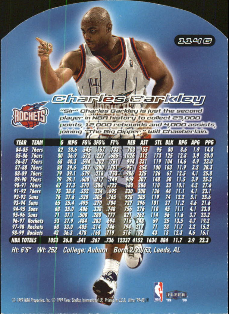 1999-00 Ultra Gold Medallion #114 Charles Barkley back image