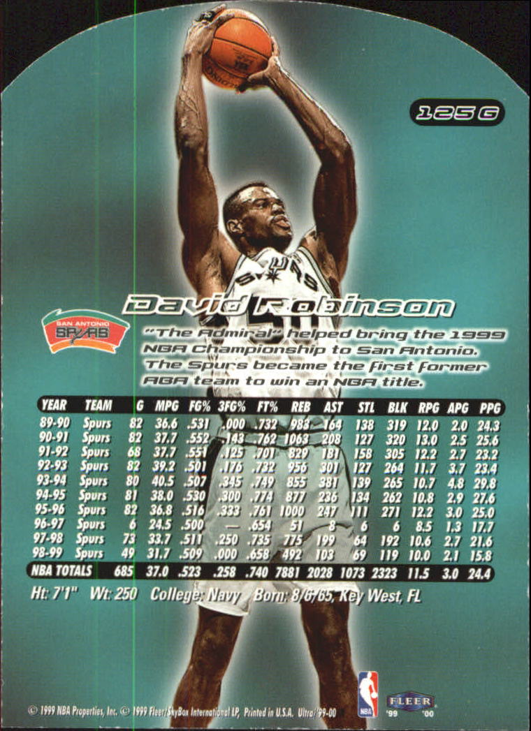 1999-00 Ultra Gold Medallion #125 David Robinson back image