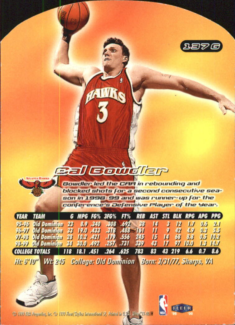 1999-00 Ultra Gold Medallion #137 Cal Bowdler back image