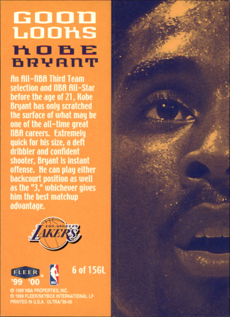 1999-00 Ultra Good Looks #6 Kobe Bryant back image