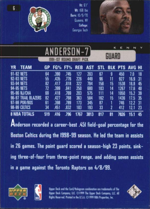 1999-00 Upper Deck #6 Kenny Anderson back image